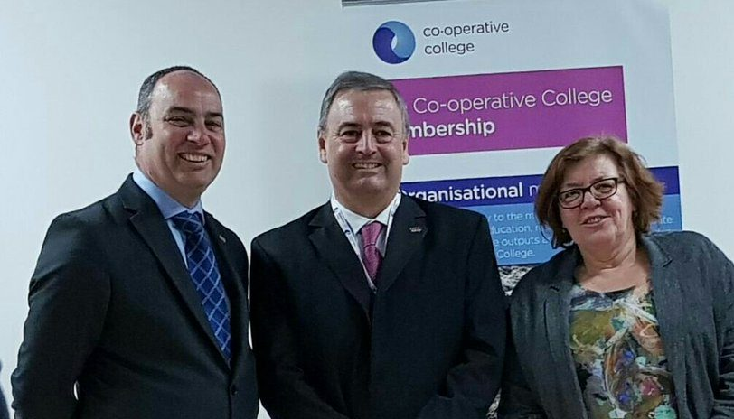 nternational Co-operative Alliance president, Ariel Guarco (centre), with the Co-operative College's Simon Parkinson (principal) and Cilla Ross (vice-principal)