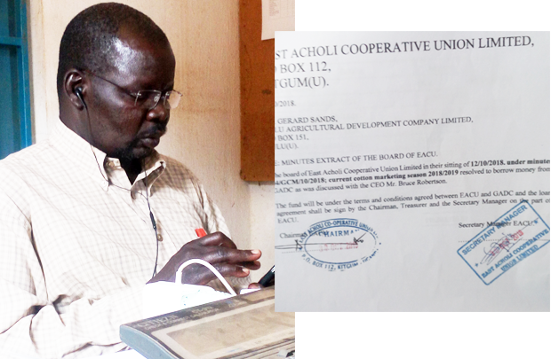 Mr. Okumu Okella Boaz (inset) The board minutes that agreed for borrowing from GADC